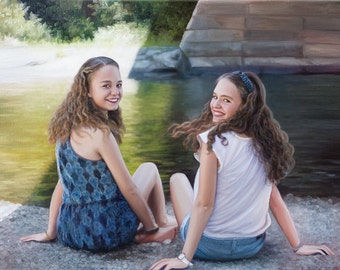 Custom Portrait - Oil Painting - Custom Painting - Sisters - Family Portrait - Unique Gift