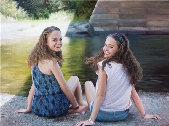 Custom Portrait - Oil Painting - Custom Painting - Sisters - Family Portrait - Unique Gift