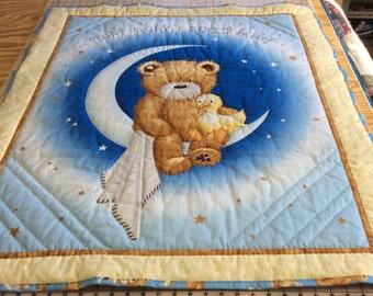 Night Night Teddy Bear Baby Quilt, Toddler Blanket, Newborn Baby Blanket, Nursery Wall Art