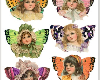 Butterfly girls Stickers for Crafting-2 sheets