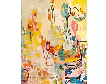 Large Original Abstract Art pretty vancouver artist melissa thorpe canadian office bright colourful colorful yellow pink blue painting