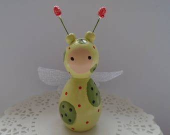 Hand Painted Wooden Green Bug Peg Doll