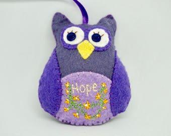 Hope Owl Ornament, Felt Owl, Purple Hanging Felt Owl, Wool Felt Ornament, Hand Embroidery Owl, Owl Car Charm