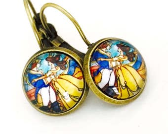 Beauty and the beast earrings, princess Belle earrings, beauty and the beast jewelry, choose size