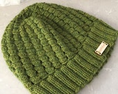 Hand knit women's hat, ribbed brim hat, knit green beanie, knit green hat, hand knit hat, women's green hat soft, knit beanie green