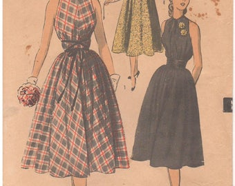 1950s - Advance 5812 Vintage Sewing Pattern Size 14 Bust 32 Mademoiselle Dress Tent Loose Tie Collar Pullover Collar Sleeveless