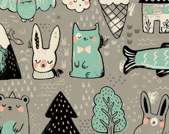 Cotton + Steel - Sarah Watts - Sleep Tight - Toys - Grey - Panel