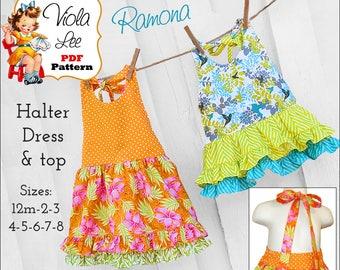 Ramona Girls Sewing Pattern. Girls Halter Dress, Summer Dress, Halter Top Pattern. Toddler Dress Pattern. Top Pattern, pdf Sewing Pattern.