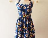 Sundress Halter Dress Mickey Mouse Dress Disney Dress Royal Blue Dress Vintage Retro Cute Summer Dress