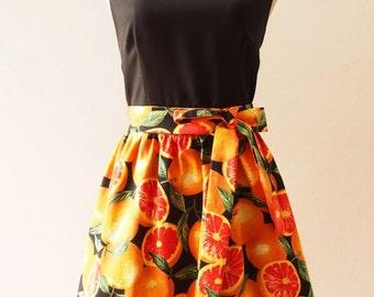 Flash SALE SALE Juicy Orange Tropical Sundress, Summer Dress, Black Tangerine Dress, Carnival Retro Party Vintage Inspired Dress, Fruit D...