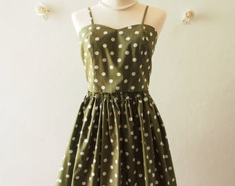 Crop Top and Skirt Set Dark Olive Green white Polka Dot Backless Style BAck Tie Bow and Skirt - Size S-M (US4-US8)