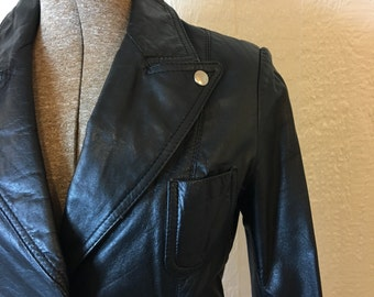 Vintage 70s Black Leather Jacket Fitted Custom Silver Buttons Rocker 36 9 / 10