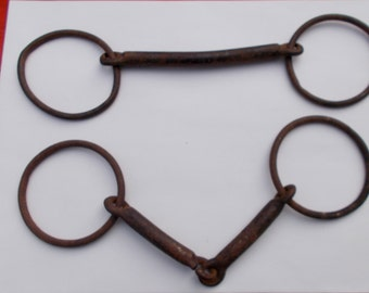 Barn Salvage Set of two metal BAR and RINGS from an Old New England Farm  harness industrial