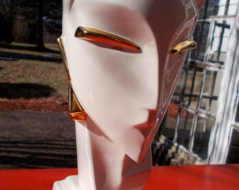 Amazing ART DECO Ceramic Sculpture  Gloss White and Gold  Ancient Egyptian and Space Age all in one Art Form