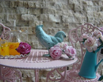 Dollhouse Miniature Shabby Chic Farmhouse Vintage Style Light Turquoise (Seafoam) Metal Rooster Ornament Statuette