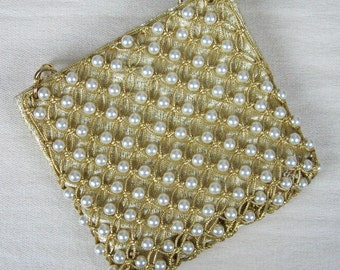 Vintage 1960s Gold Lame Beaded Clutch 50s Gold Evening Purse with Pearl Beads by Magid