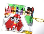Paw Patrol READY TO SHIP Birthday Party Crayon Rolls Party Favors, made from Paw Patrol on White fabric, Paw Patrol Birthday Party Favors