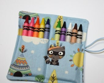 Tribal Birthday Crayon Rolls Party Favors, READY TO SHIP Wild One Birthday Party Favors Owl Raccoon Fox Hedgehog, Crayon holders wraps bags