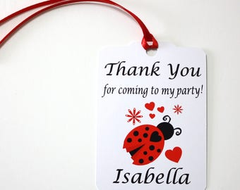 Set of 12 Thank You Party Favor Tags, Ladybugs Party Personalized Birthday Party Favors Tags Thank You Gift Tags, Party Supplies Ladybugs