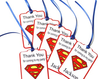 Set of 12 Thank You Party Favor Tags, Superman Personalized Birthday Party Favors Tags Thank You Gift Tags, Super Hero Party Supplies
