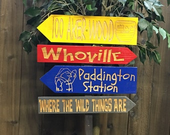 Childrens Story Direction Signs - Winnie the Pooh 100 Aker Wood Dr Seuss Whoville Paddington Where the Wild Things Are - Cedar Wood Decor