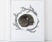 Sleeping Baby Mouse Print 8x10, Watercolor Woodland Nursery Print