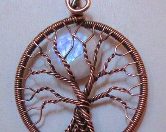 Tree of Life, Rainbow Moonstone Full Moon Tree of Life, Antiqued Copper  Rainbow Moonstone Necklace