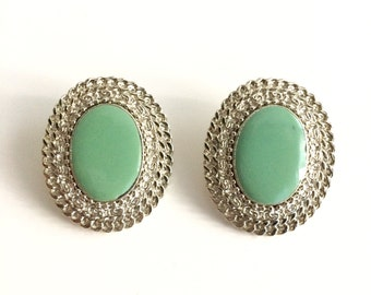 1990s Mint Green & Silver Oval Earrings