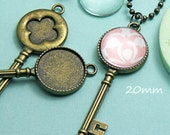 BLACK FRIDAY - Key Necklace Charm setting - DIY Jewelry Making Bronze 20mm Opening Free Shipping Offer offer