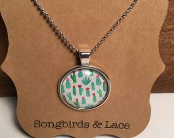Cactus Pendant necklace on silver setting- 25mm