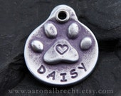 Dog Tags for Dogs Custom Personalized Paw Print with Heart Dog Tag Handmade in USA