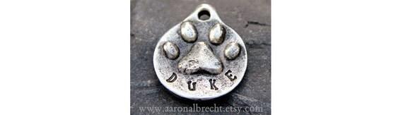Pet Tag - Dog Tag - Pet ID - Dog ID Tag - Custom Paw Print Handmade
