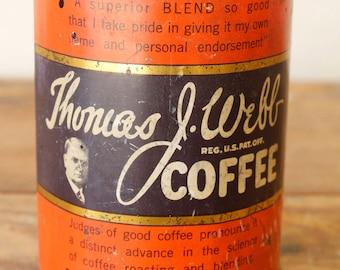 Vintage Tin Antique Coffee Tin Collectible Advertising Thomas J. Webb Coffee Chicago