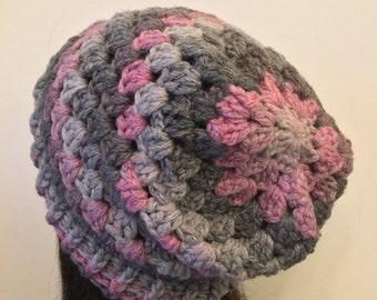 Granny Stitch Slouch Beanie- Pink & Grey