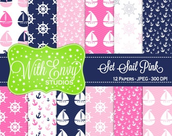 SALE  Nautical Digital Scrapbook Paper Pack - Sailing Scrapbook Paper Set - Boat Scrapbook Paper - Pink White Blue Paper - Commercial Use