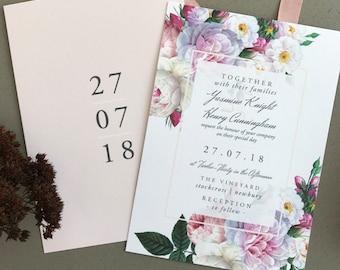BOTANICAL FLOURISH | Rustic Wedding Invitations, Wedding Invites, Wedding Invite, Blush and Rose Wedding Invitation Rustic - Sample Set
