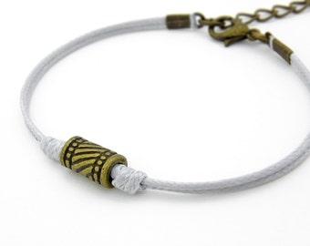 Antique Bronze Tube Bracelet, Light Gray Bracelet, Waxed Cord Bracelet, Friendship Bracelet, Tribal Bracelet