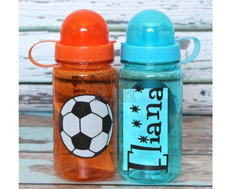 Orange Personalized Sports 15oz Sports Water Bottle - For Kids or Adults - Party Favors, Gifts - Fun Colors