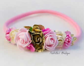 Pink Ivory Cream Gold Floral Crown - Floral Halo Floral Boho Headband Newborn Photo Prop Shabby Chic