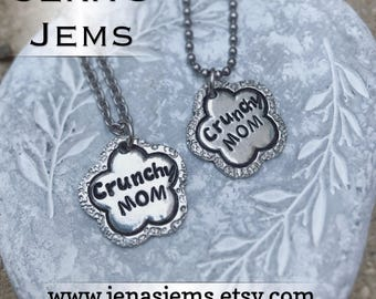 Hand Stamped Artisan Pewter Crunchy Mom Necklace
