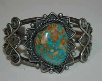 The Prettiest Old Vintage Navajo Boulder Turquoise Hand Wrought Bracelet Cuff 60 Grams