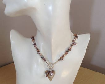 Front Fastening Hand Knotted Keishi Pearl Statement Necklace with Sterling Silver Heart Pendant,