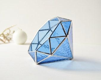 Blue Diamond Terrarium, Stained Glass Planter, Geometric Terrarium, Diamond Shape Planter for Indoor Gardening, Wedding Gift