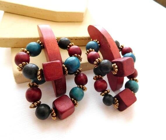 Vintage Tribal Maroon Red Turquoise Blue Black Wood Bead Boho Dangle Earrings A9