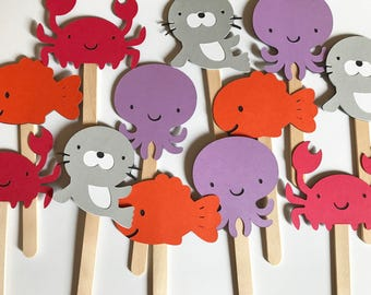 24 Sea Creatures Cupcake Toppers