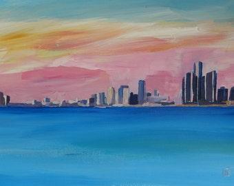 Detroit Michigan Skyline at Lake Erie - Limited Edition Fine Art Print