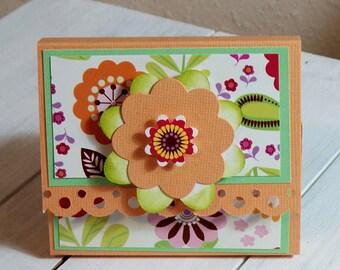 Post it note holder, Orange retro flower, journal cover, note pad holder, journal cover holder