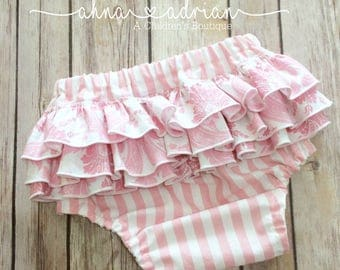 Baby Girls Ruffled Bloomers, Ruffled Diaper Cover, First Birthday Bloomers, Pink Damask and Stripe Easter Bottoms Kids Clothing