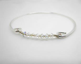 Silver Bangle Swarovski Crystal Bar Bangle//Bridesmaids/Sister/Friend Gift Gift//LR018B
