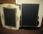 Set of 2 Vintage Geometric Reverse Painted Picture Frames w/ Metal Corners / Art Deco